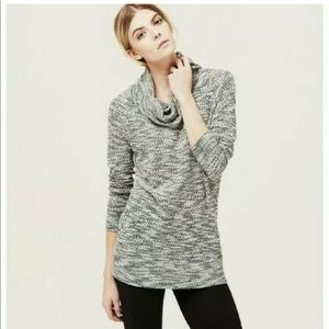 Lou & Grey Cowl Neck Tunic Sweater Marled Black L